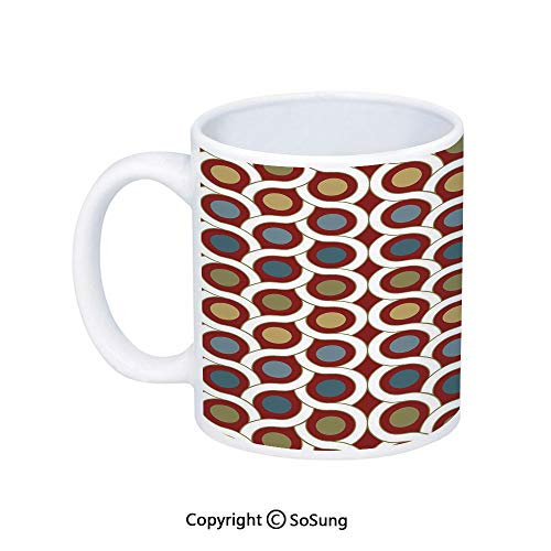 Dots Blue Personalized Gift Basket - Abstract Coffee Mug,Geometric Interlace Circular Forms Dots Rounds in Symmetric Lines Art Design,Printed Ceramic Coffee Cup Water Tea Drinks Cup,Ruby Khaki Blue
