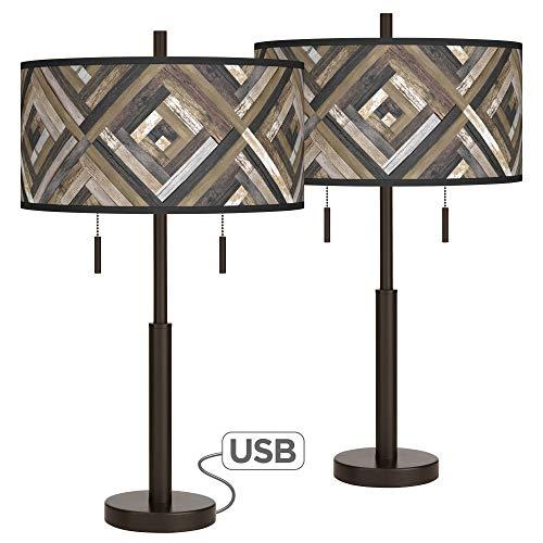 Woodwork Diamonds Robbie Bronze USB Table Lamps Set of 2 - Giclee Glow