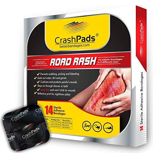 CrashPads® Adhesive Bandages for Road Rash, Scrapes and Burns (14 Bandage Pack)