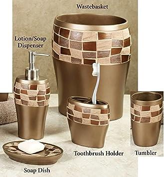 Amazoncom Popular Bath  Piece Mosaic Stone Oil Rubbed Bronze - Brown mosaic bathroom accessories