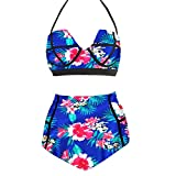 LA PLAGE Women's High Waist Vintage Push Up Padded floral swimsuit size XXL floral blue