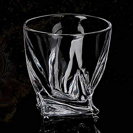 1 vaso de cristal para whisky, sin plomo (300 ml), regalo para hombres y mujeres, perfecto para beber base pesada y diseño único irregular