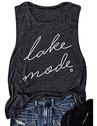 NANYUAYA Lake Mode O-Neck Tank Top Cute Women Summer Vacation Vest Casual Shirt Tee