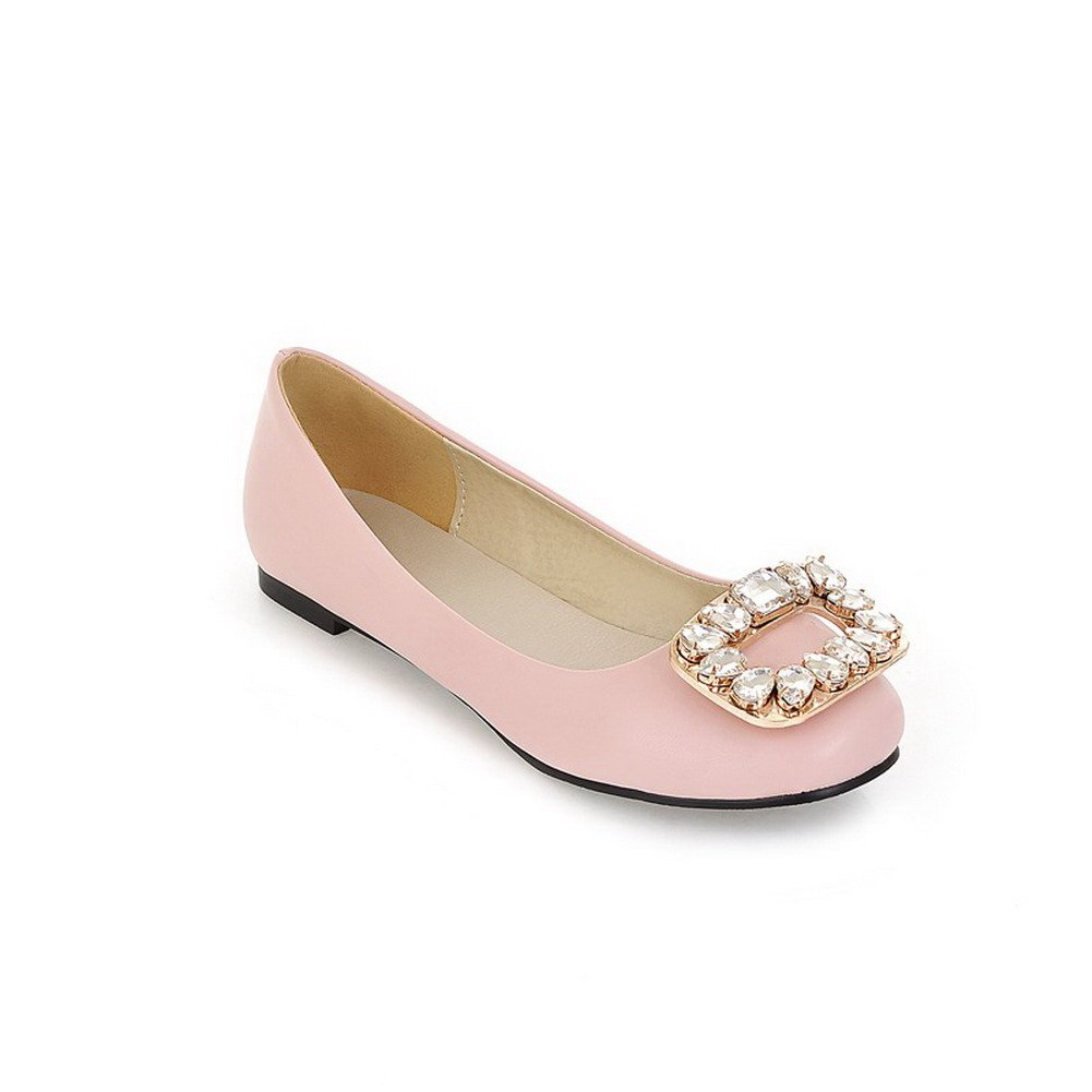 VogueZone009 Womens Closed Round Toe Soft Material PU Solid Flats with Glass Diamond, Pink, 10 B(M) US