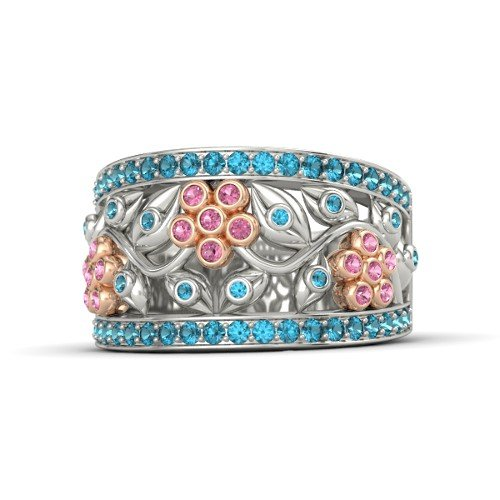 14K White Gold Ring with Pink Tourmaline & London Blue Topaz â€