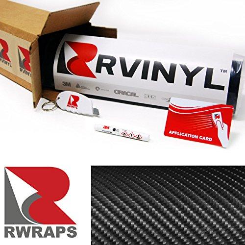 ON FIBER 5ft x 1ft W/ Application Kit Vinyl Vehicle Car Wrap Film Sheet Roll (Atv Carbon Fiber)