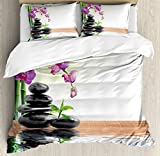 Spa Decor Duvet Cover Set by Ambesonne, Spa with Spring Water and Health Giving Properties Asian Eastern Way of Getting Better Art Photo, 3 Piece Bedding Set with Pillow Shams, Queen / Full, Multi