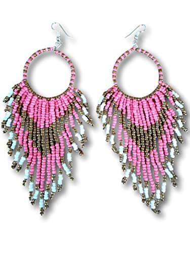 Tribal Dangle Fringe Tassel Bead & Hoop Earrings Native American Style by Pashal (Soft Pink)