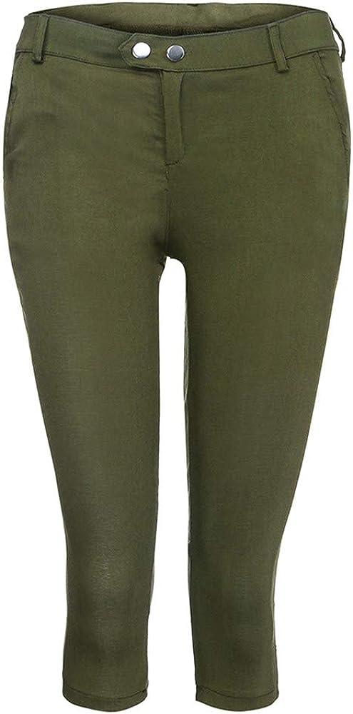 Pervobs Women Plus Size Solid Button Zipper High Waist Calf-Length Pants Trousers