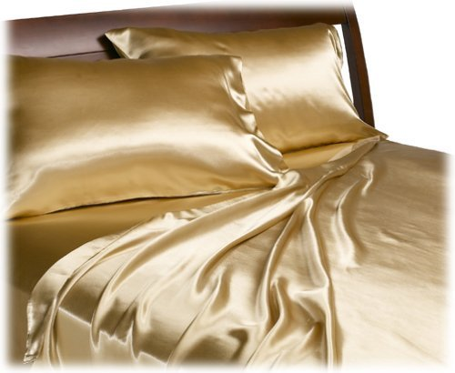 Gold Standard Pillow Set (Mk Collection 2pc Soft Silky Satin Solid Gold Standard/Queen Pillow Cases Set New)