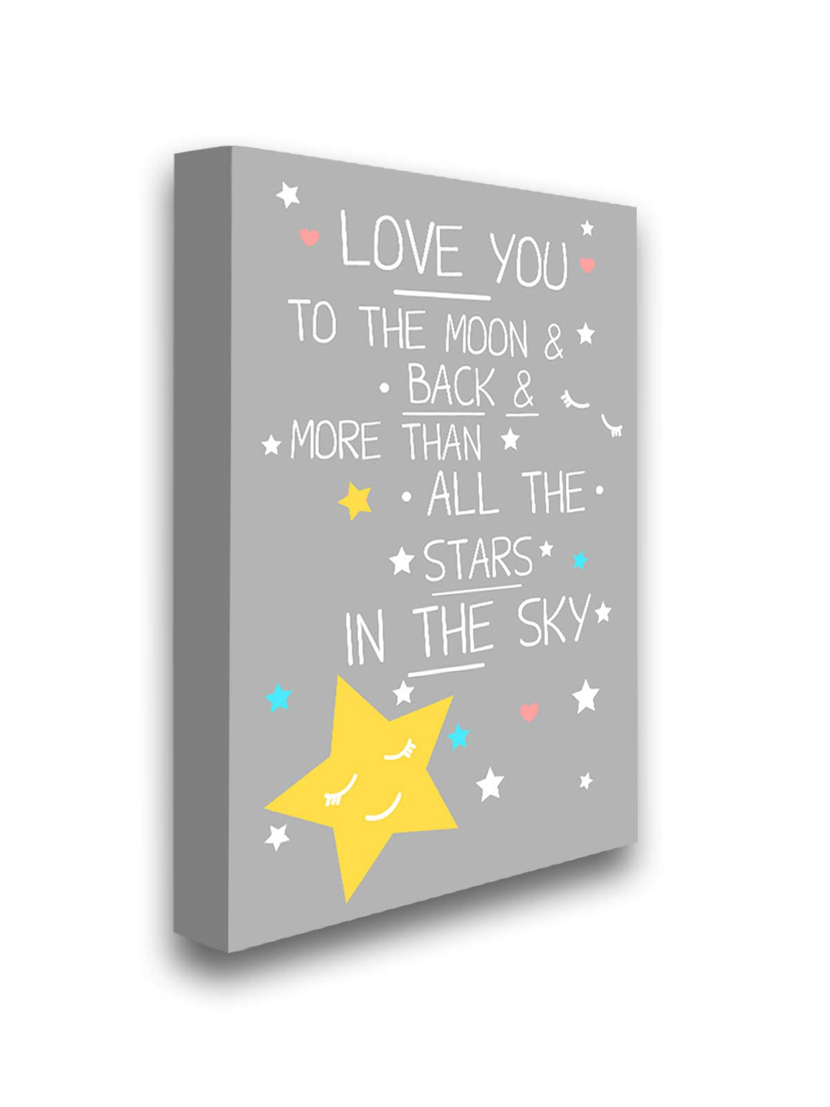 Pekatees Love You to The Moon & Back More Than All The Stars in The Sky Framed Picture Cute Quotes Baby Kids Room Newborn Baby Gifts 32'' x 40'' NO Frame