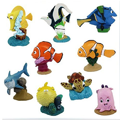 9 PCS/Set Finding Nemo Shark Turtle Clown Fish Figures Action PVC Figures Toys (Godzilla Inflatable Costume)