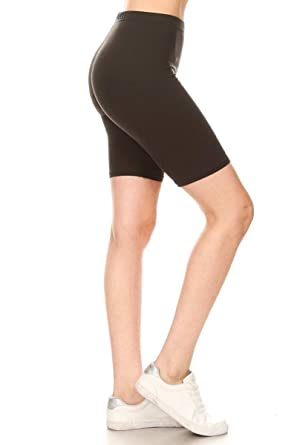 1b58da3c87e5 Leggings Depot Women's Popular High Waist Solid Biker Shorts -17 Colors ( Black-Bike