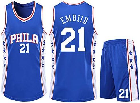 メンズバスケットボールジャージ、Embidid-76ers 21 Swingman Editionジャージ、スポーツウェア、リアルバスケットボールユニフォームシャツ