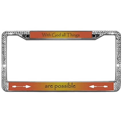 Amazon.com: GND Personalized License Plate Frames god all things are ...