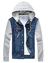 Kasfly Men's Rugged Wear Denim Hoodie Jacket