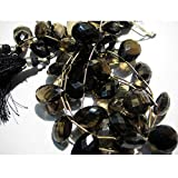 8 Pcs-22x15mm To 13x10mm Each-Extra Huge AAA Smoky Quartz Briolettes-Faceted Briolettes,Pear Beads