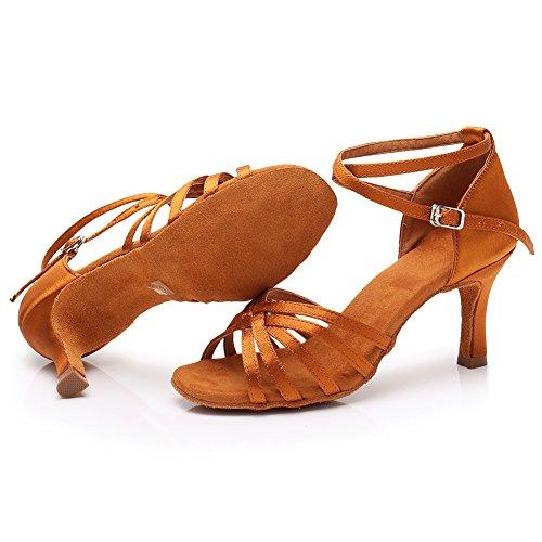 Para Tacón 7cm Zapatillas 5cm 7cm Altura Latino Baile Marrón De Modelo Hipposeus Esqlp1213 Mujer Del x1wBUxZqI