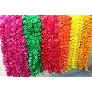 Genx 5 Pack Mixed Artificial Marigold Flower Garlands/Strings 5 ft Long- for use in Parties, Celebrations, Indian Weddings, Indian Themed Event, Decorations, House 8