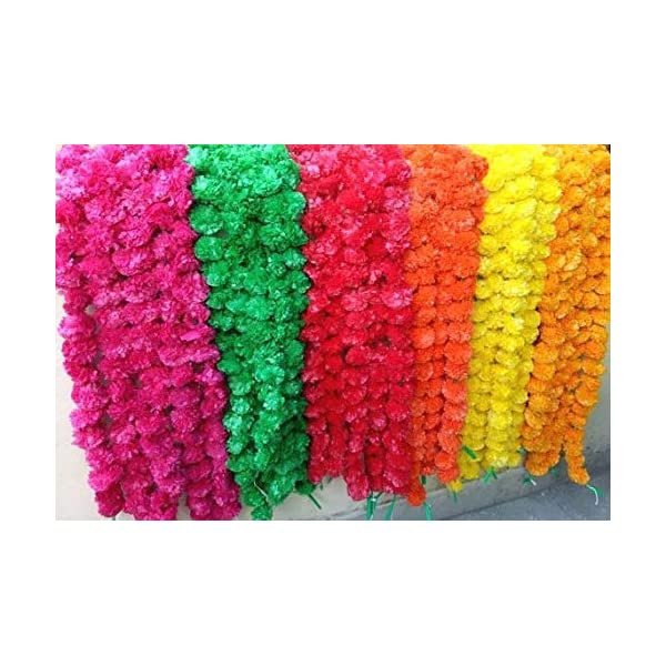 Genx 5 Pack Mixed Artificial Marigold Flower Garlands/Strings 5 ft Long- for use in Parties, Celebrations, Indian Weddings, Indian Themed Event, Decorations, House