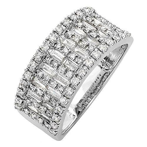 (Dazzlingrock Collection 0.98 Carat (ctw) 14K Round & Baguette Cut Diamond Ladies Wedding Band 1 CT, White Gold, Size 8)