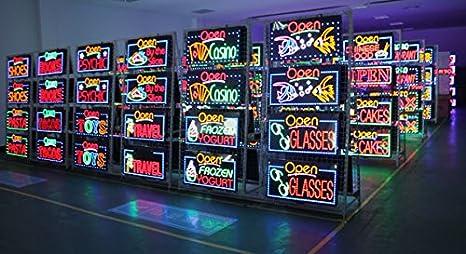 Enseigne lumineuse LED avec inscription,/panneau vintage avec n/éons lumineux /à intermittence,/id/éal pour les magasins pizzerias ou maison/-/48/x 25/x 2,5/cm Pizza pubs Ducomi/®