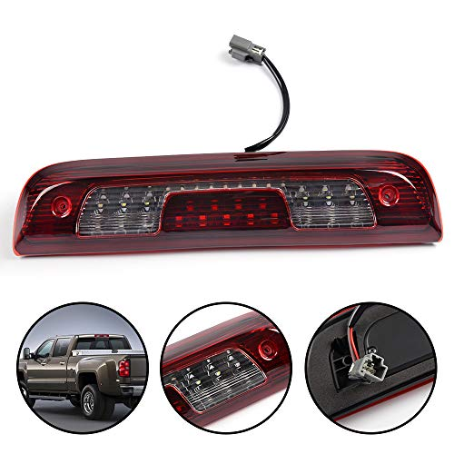 (Fit For 2014-2018 Chevy Silverado GMC Sierra 1500 2500HD 3500 HD LED 3rd Third Brake Cargo Lights Rear Roof Center High Mount Stop Light Lamp Replacement)