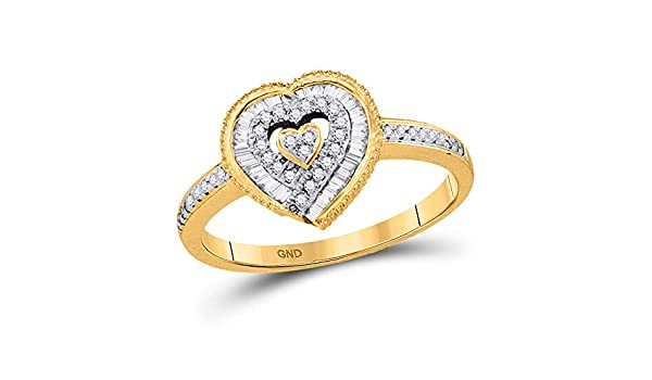- Available Sizes From 6 to 8 I2-I3 Mia Diamonds 10kt Yellow Gold Womens Round Diamond Square Cluster Bridal Wedding Engagement Ring .15cttw