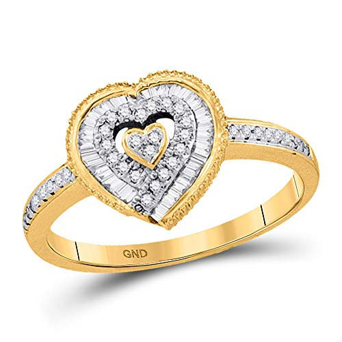 10kt Yellow Gold Womens Round Diamond Heart Ring 1/4 - Diamond Heart Cluster Ring