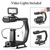Handheld Stabilizer & Video Led Lights Skateboarding, Sevenoak Handle Grip & Built-in Stereo Mic for DJI OSMO iPhone 8 8 Plus 7 6 6s Smartphone GoPro Canon Nikon Sony Alpha RX0 DSLR Camera Camcorder