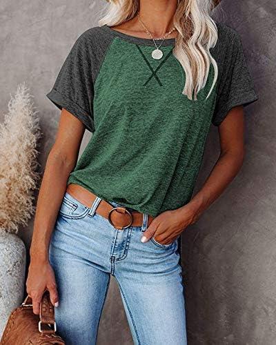 LAMISSCHE Womens Summer Short Sleeve T Shirt Crewneck Raglan Tee Top Casual Basic Color Block Blouse