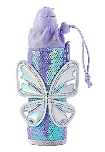 Price comparison product image Justice For Girls Sequined Butterfly Sleeved Water Bottle