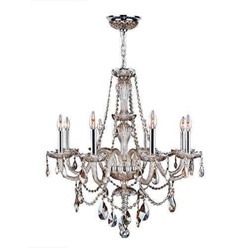 Worldwide Lighting Provence Collection 8 Light Chrome Finish and Golden Teak Crystal Chandelier 28