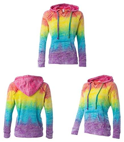 MV Sport Women's Courtney Burnout Hooded Pullover Blend Fleece (Rainbow Swirl) ()
