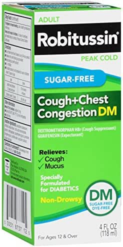Cough & Sore Throat: Robitussin Sugar Free