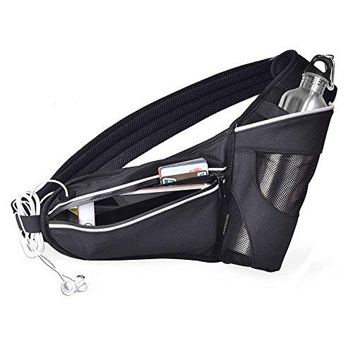 Mesh Water Bottle Holder (JKMEOO Waist Bag with Water Bottle Holder,Water Resistant Workout Waist Pack for Men Women Outdoor Sports Running Belt fits iPhone 6/7/8 Plus)