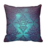 CottonHouse Fancy Teal to Purple Damask Pattern Throw Pillowcase