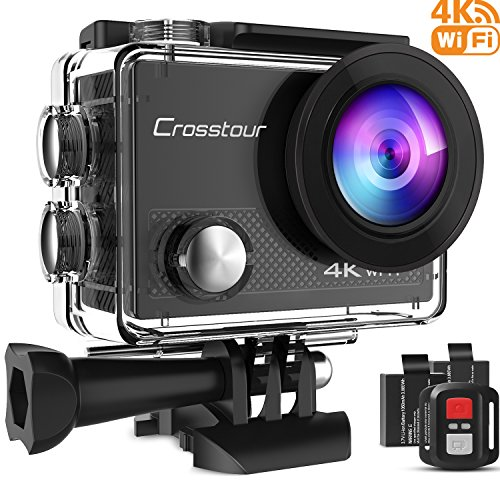 Crosstour Action Camera 4K WiFi Underwater Cam 16MP Sports Camera Remote Control 170°Wide-Angle 2 Inch LCD Plus 2 Rechargeable 1050mAh Batteries Mounting Accessories Kit