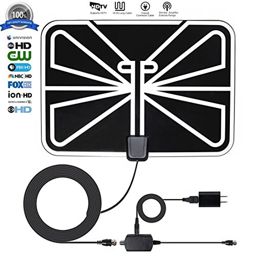 TV Antenna, ZetHot 50 to 70 Mile Range Amplified Indoor TV Antenna with 16.5FT High Performance Coax Cable for Digital Freeview and Analog TV Signals - Free Local Channels for Life for HDTV / TV