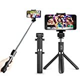 Zeadio 3-in-1 Multifunction Extendable Mini Pocket Selfie Stick, Integrated Foldable Tripod with Bluetooth Remote selfie stick and 360 degree rotation smartphone holder