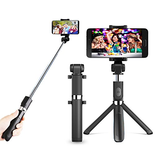 hot sale 2017 Zeadio 3-in-1 Multifunction Extendable Mini Pocket Selfie Stick, Integrated Foldable Tripod with Bluetooth Remote selfie stick and 360 degree rotation smartphone holder