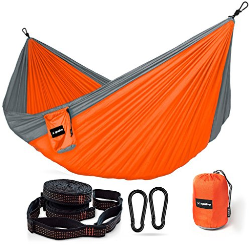 XSPOLVE Double Camping Hammock with Hammock Tree Straps,Portable Parachute Nylon Hammock for Hiking Backpacking(Gray - Side Covered Sunglasses