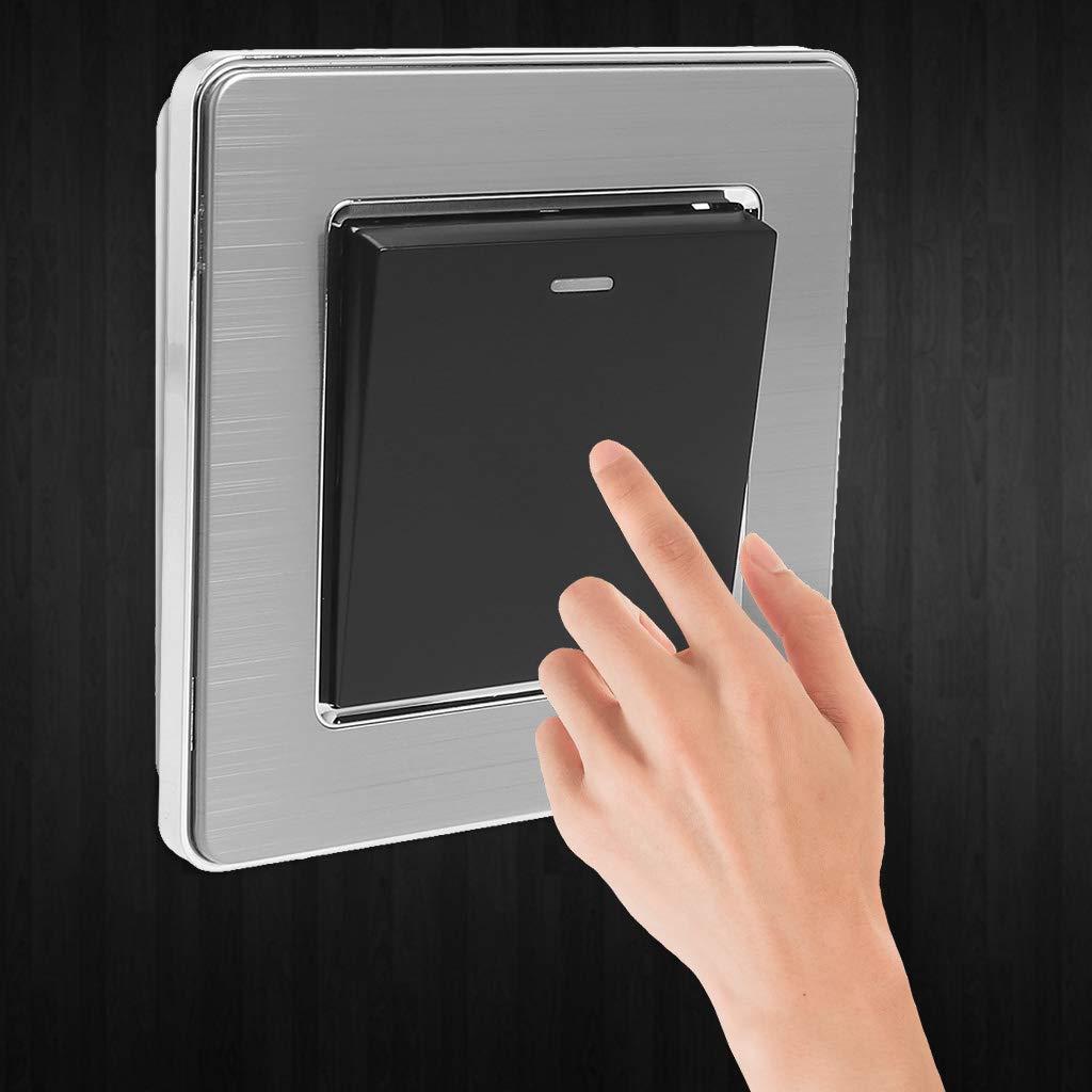 Li-ly/Interrupteur en acier bross/é Gris Interrupteur /à panneau mural CA 110~250V 2 voies avec indicateur /à LED Interrupteurs /à bouton-poussoir 1 voie