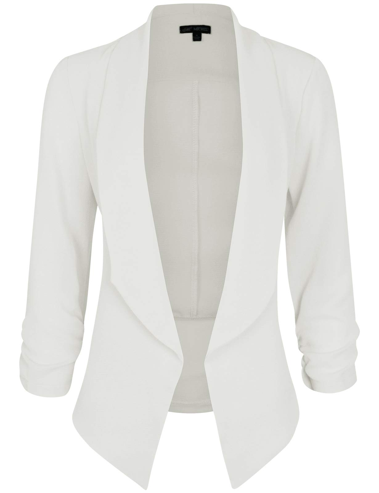 Michel Women's 3/4 Sleeve Blazer Casual Open Front Cardian Jacket Work Office Blazer White Small
