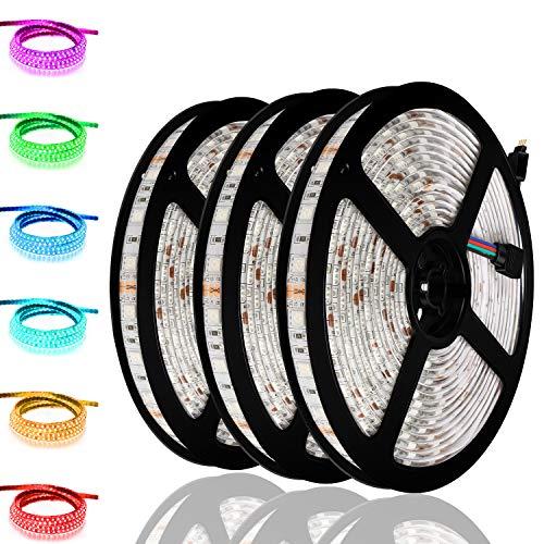 LED Strip Light, IWISHLIGHT 3 Pack 49.2Ft/15M Light Strip SMD 5050 Waterproof Flexible RGB Strip Lights,IP67 Waterproof RGB LED Light Strips for Home Kitchen Car Bar, Power Adapter not Included
