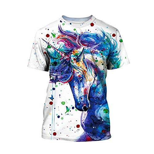 Tsyllyp Unicorn 3D Graphic Print Cool Design Short Sleeve T-Shirt Girls Boys -