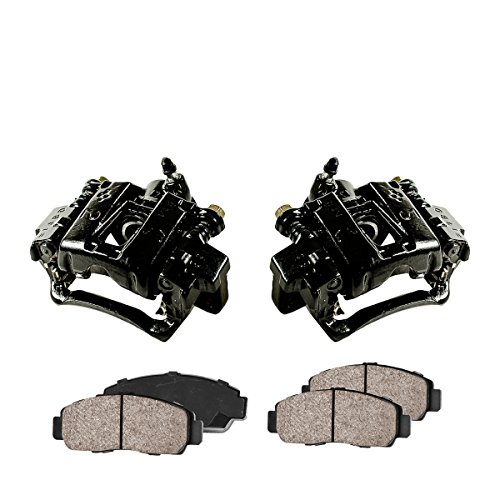 CCK02397 [2] REAR Performance Black Powder Coated Calipers + [4] Quiet Low Dust Ceramic Brake Pads