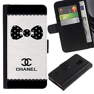 For Samsung Galaxy S5 V SM-G900 Case , Dot Brand White Black Pattern - la tarjeta de Crédito Slots PU Funda de cuero Monedero caso cubierta de piel