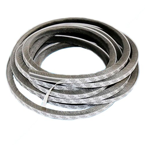 T&B 472.4Inch Self-Adhesive Pile Weatherstrip for Windows & Doors 3/8-Inch x 3/8-Inch x 39.3 ft, (12m, Grey) by T&B