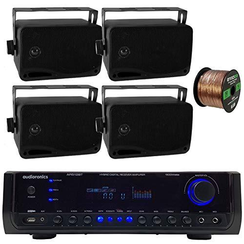 Audioronics 1500 Watt Hybrid Digital Stereo Receiver Amplifier, Pyle 3.5'' 200 Watt 3-Way Weather Proof Mini Box Speakers - Black, Enrock 16 Gauge 50 Foot Speaker Wire